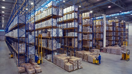 Palletising With Foodstuffs Stand On A Rack Shelf Goods Warehous