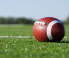 American Football with the Field Beyond
